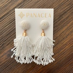 PANACEA Beaded Tassel Earrings. NEW.